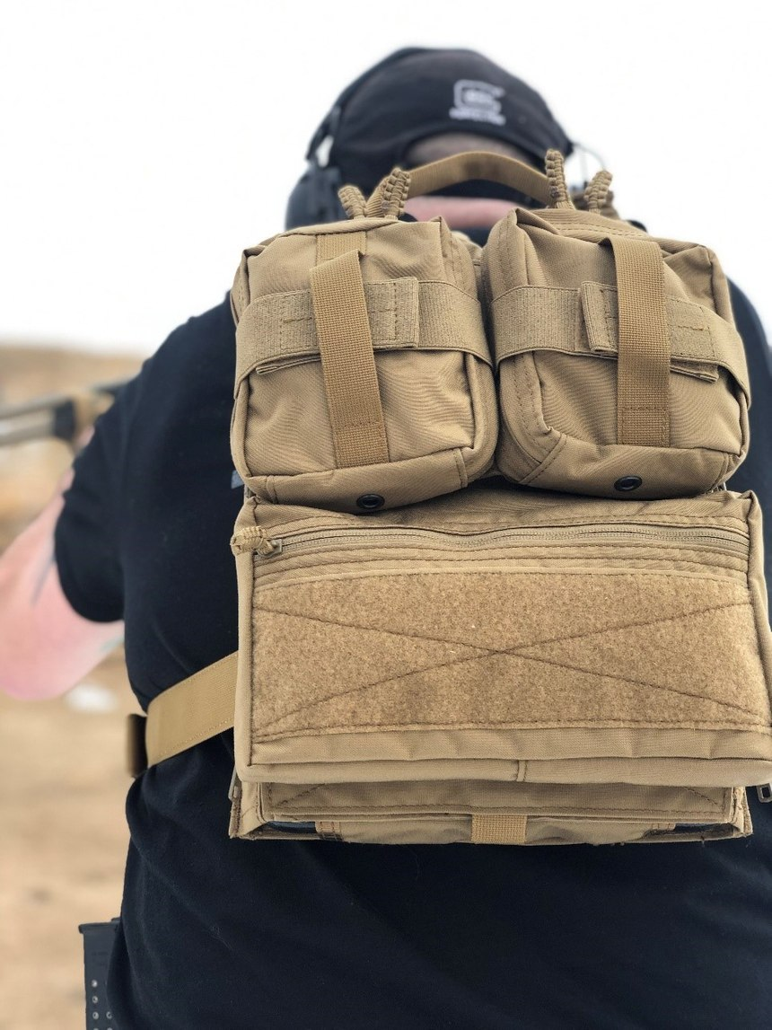 The dual removable GP pouches are great up top, while the GP pouch has a great field of Velcro for ID patches.Note the reinforced drag handle up above.