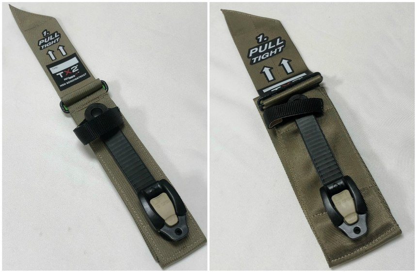 Left: The TX2 is a unique approach with a ratcheting buckle. Right: The TX3 is so wide, it looks like something from a restraint chair or race car, though the width helps minimize the pain upon compression.