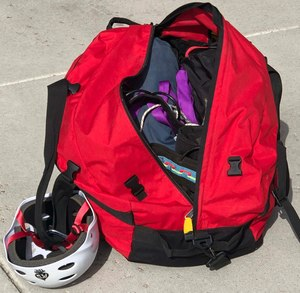 This bag holds harnesses, anchors, carabiners, rescue 8sand other rappelling gear that allowed me to tie off and drop down a ledge at a moment's notice.