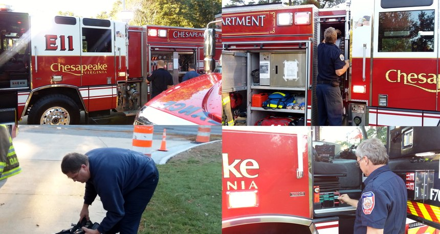 The crew ensures equipment is prepared. Clockwise: Driver and jump-seat check pump and engineer's compartment; crew makes sure nozzles are properly set; crew ensures the accountability passport is updated; officer inspects gear and SCBA. (Photos/Duane Daggers)