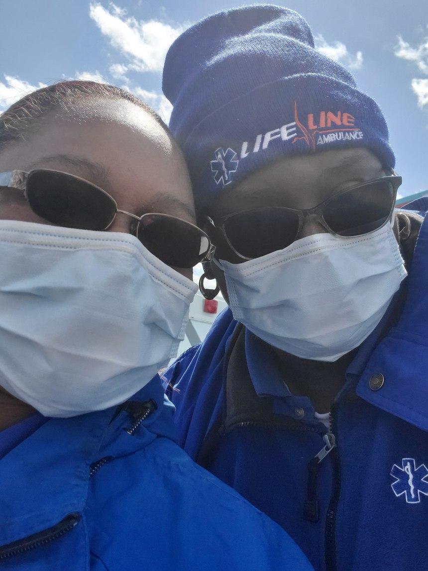 Lifeline Ambulance EMTs Abra Williams, left, and Debra Holloman on deployment in New York.