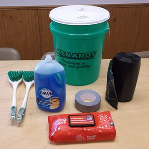 •Crews carry a bucket, which includes dish soap, scrub brushes, trash bags, tape and wipes, to start removing and isolating contaminants on scene.