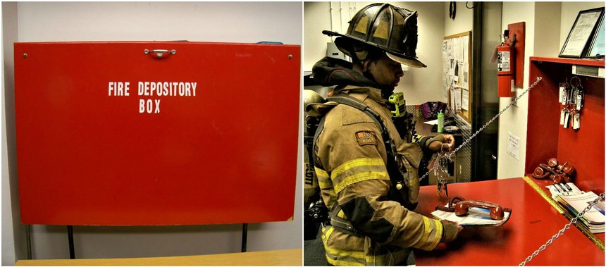 Once inside the FCC, a firefighter should open the fire depository box and gather the preplans, keys and fire phones to be delivered to the initial attack team and other pertinent teams.