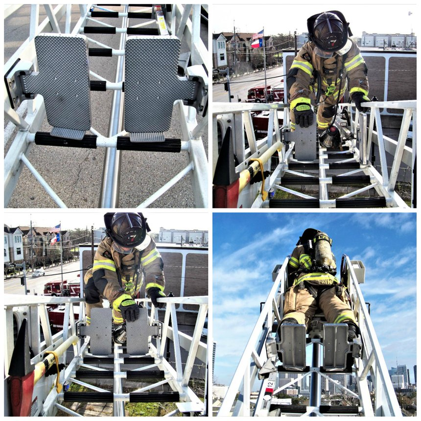 Foot plates located near the tip of the ladder allow a firefighter to safely stand and operate for extended periods at the nozzle during aerial master stream operations.