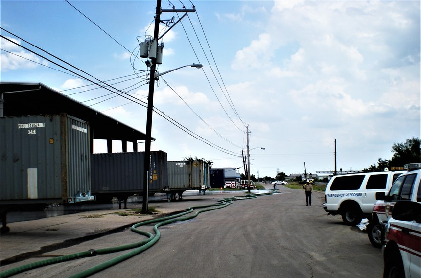 Long hose lays and water supply issues are the order of the day when warehouse fires become major events.