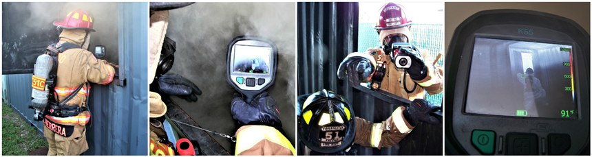 Once the search firefighter has entered the window, the officer moves into window frame and uses the TIC to observe conditions inside the room. The officer also uses the TIC to locate heat signatures that may possibly be present. When the door is located, the can officer direct the searching firefighter in the general direction of the door. The officer continues to watch the searching firefighter until they locate the door. From the window's exterior, the officer can confirm the door was closed, watch the searching firefighter perform the search for the victim, and maintain situational awareness and crew integrity.