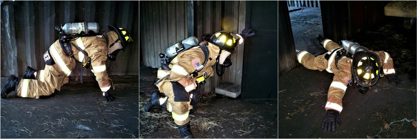 A firefighter uses a traditional search on hands and knees to search for the door. They are searching the wall for the door or following directives from the officer with the TIC to follow a wall until the open door is located. A firefighter uses a tripod method of using one leg/foot out in front of them for safety and speed. When the search firefighter locates the door, they should lock a foot to the door frame and use a stretching search to search just beyond the door prior to closing the door for isolation. Now the searching firefighter can safely and thoroughly search the room for any victims.