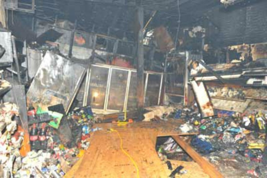 Interior view of deli following partial floorcollapse and recovery operations.