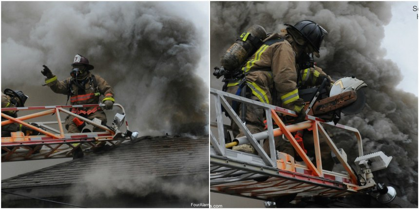 Left image: Operating from an aerial ladder requires additional coordination and communication between the officer and the operator located at the turntable. (Photo/Brandon Jacob) Right image: Operating from the aerial ladder requires practice to be efficient and effective. Firefighters should train and practice to be ambidextrous with the saws. The aerial ladder will not always be able to provide you with the optimum work location.