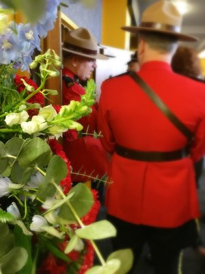 Members of the Royal Canadian Mounted Police at the memorial service for Pierce County Sheriff's Deputy Daniel McCartney.