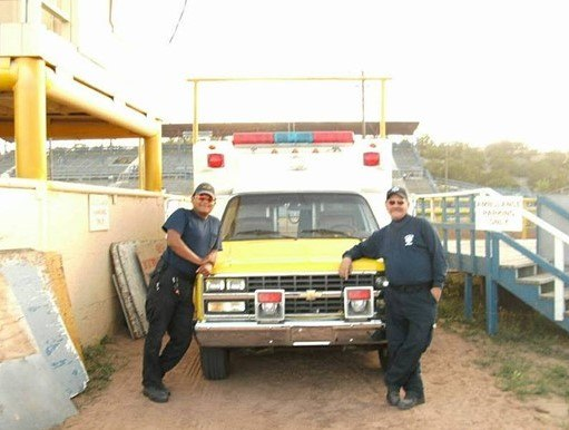 Navajo Tribal Police Officer Houston Largo (left), who was killed in the line of duty in 2017, is pictured with Bud Paine in 2009.