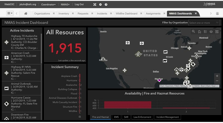The NMAS Incident Command Dashboard shows resource locations.