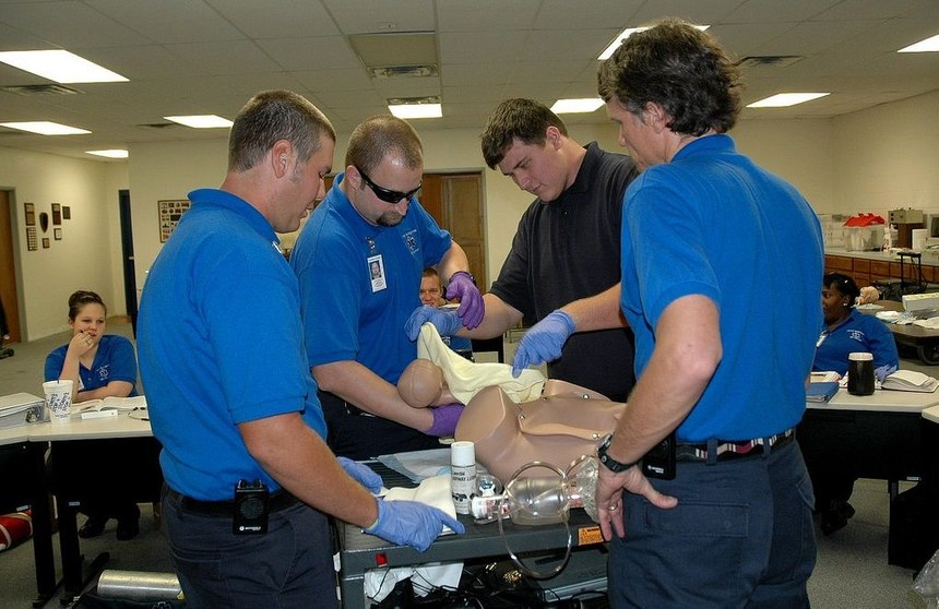 EMS students working on a skills lab. (Photo/Paul Long)