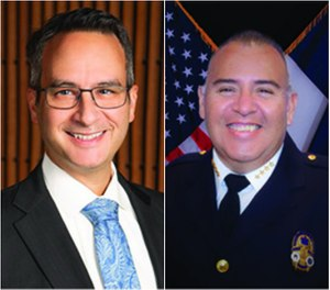 Left to right: Mark E. Escott, MD, MPH, FACEP, FAEMS, NRP, is the EMS system medical director for the City of Austin and Travis County, Texas. Ernesto Rodriguez, MA, EMT-P, is the chief of Austin-Travis County EMS.