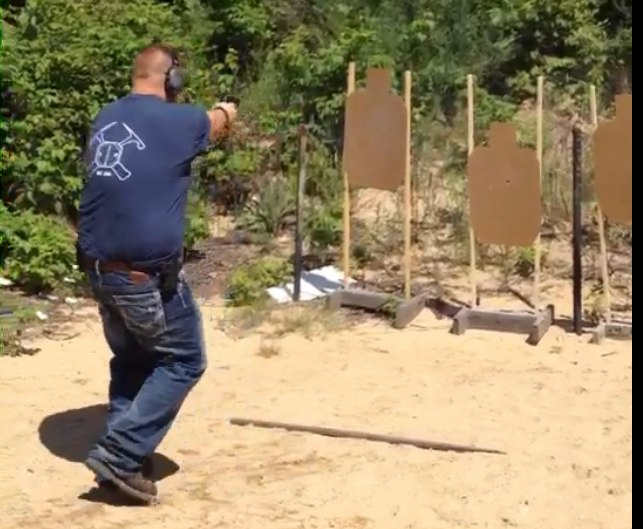 Picture of the first IDPA competition I competed in with no shooting from cover into four targets.
