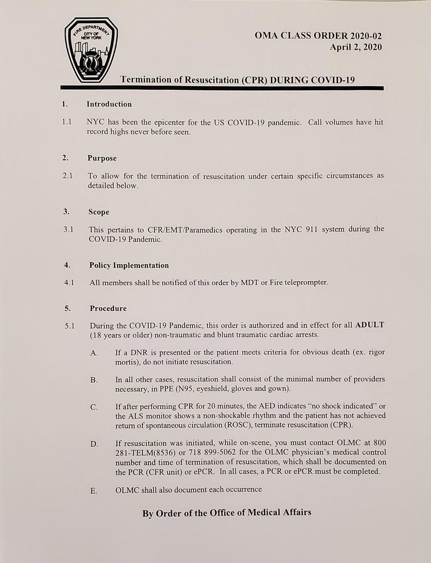 FDNY Termination of Resuscitation During COVID-19 Order