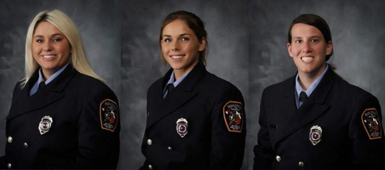 Meet Midlothian firefighters Katie Bean, Samantha McCulloch and Teresa Smith — the women behind the helmet and Midlothian Fire insignia. (Photo/MFD)