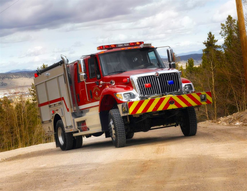 An example of a hybrid pumper is the Timberwolf from Rosenbauer. With a 1,000-gpm multi-stage pump and a 750-gallon water tank, it is designed to meet the NFPA 1901 requirements as both a Type-1 engine and Type-3 wildland firefighting vehicle. (Photo/Rosenbauer)