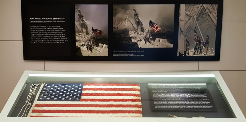 The Ground Zero flag and halyard on display at the 9/11 Memorial Museum. (Photo/Steve Paxton)