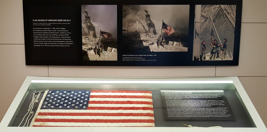 The Ground Zero flag and halyard on display at the 9/11 Memorial Museum.
