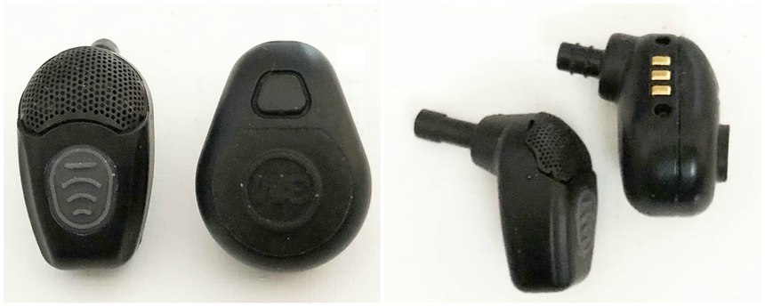 The NoizeBarrier Micro (left) is narrower overall while the TEP-100 is narrower toward your ear canal. The microphone is behind a built-in windscreen and is aimed more to the front on the former while the mic is recessed on the latter. Both earpieces will accept the same tips. The earwax filter friction fits into the bulge on the shaft of the NoizeBarrier Micro. Note the differences in where the device enters your ear canal – this can make a big difference in comfort and sealing. (Photo/Ron LaPedis)