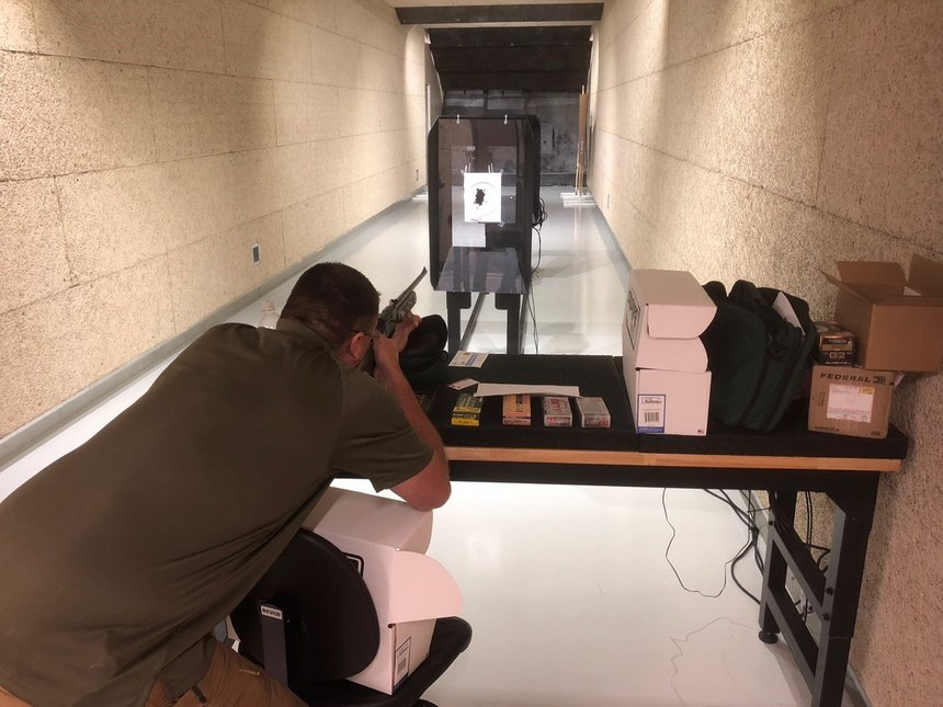 Chronographing the BB gun at the test facility, prior to firing calibration shots into the gel.