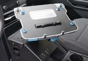 The B360 laptop vehicle docking station features Getac certified electronics with full port replication including HDMI, VGA, Serial, Ethernet, and USB allowing users to easily connect to their network and all peripherals for a complete desktop experience while on the road. (Photo/Gamber-Johnson)