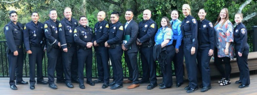 Officer Gomez is on the left of his brothers and sisters in blue who responded to or supported the YouTube active shooter response.