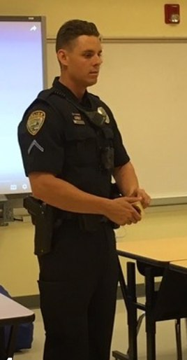 Officer John DiGiovanni in the classroom. (Photo/Cape Coral Police Department)