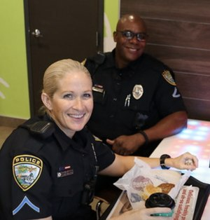 "Officer Sydney Wilcox and Officer Cortney Hamilton-Reyes during ""recess."" (Photo/Cape Coral Police Department)"