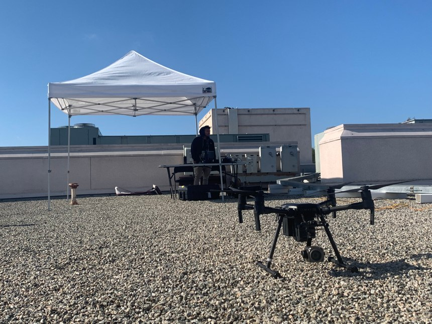 The DFR operation features a teleoperator and two FAA-trained pilots, who are each stationed on separate rooftops within the city. (Photo/CVPD)