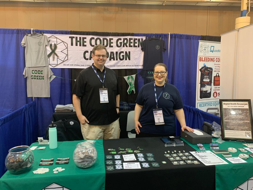 The Code Green Campaign founder and EMS1 Editorial Advisory Board Member Ann Marie Farina spreads mental health awareness at the EMS World Expo. (Photo/EMS1)