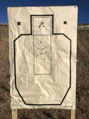 My target after shooting the qualification in 1 min 18 seconds. (Photo/Pete Goode)