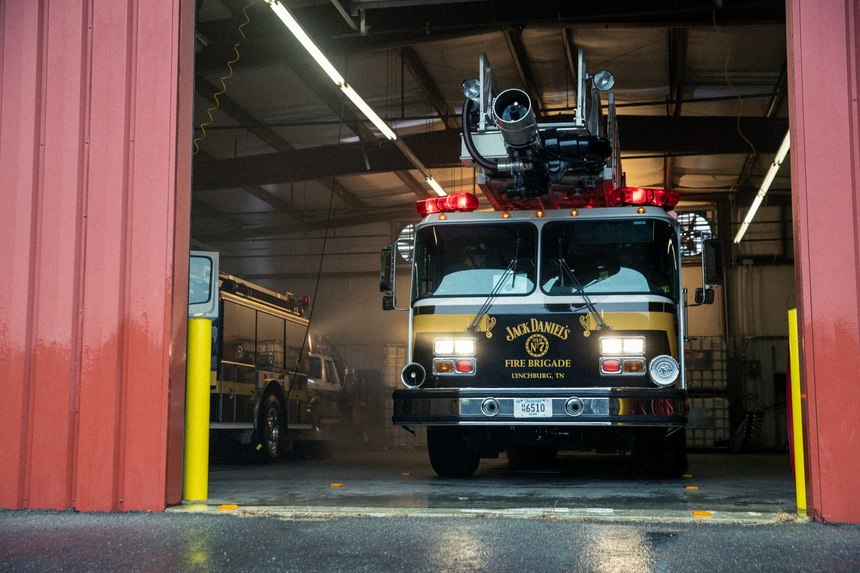 The department's fire equipment is specifically designed and outfitted to handle distillery-related fires. (Photo/Hollis Bennett)