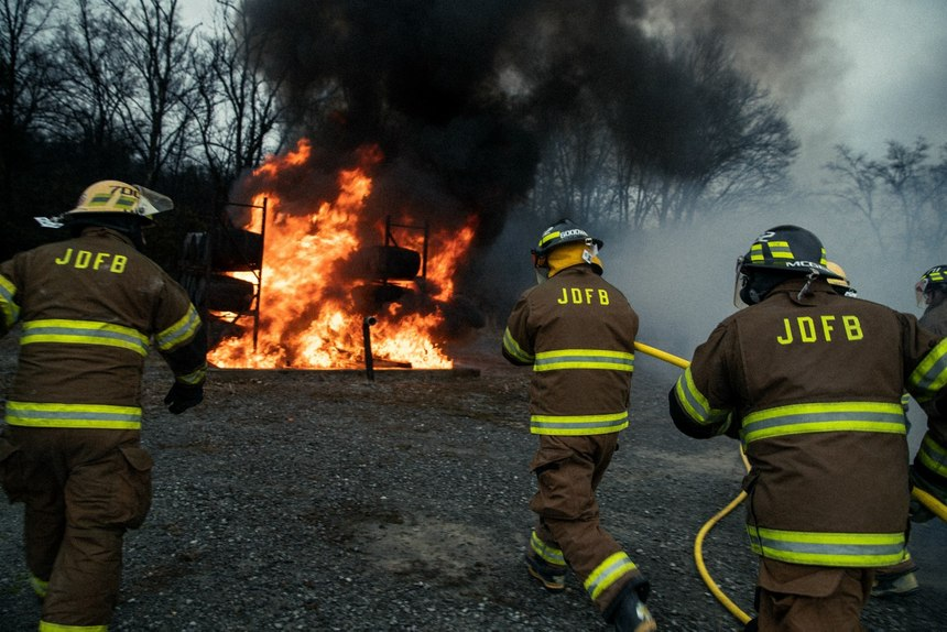 The department participates in standard fire service training; however, the department also focuses on training for distillery-specific hazards. (Photo/Hollis Bennett)