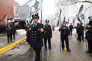 Police officers assemble on Nov. 26 before the funeral of Officer Samuel Jimenez. (Chris Walker/Chicago Tribune/TNS)