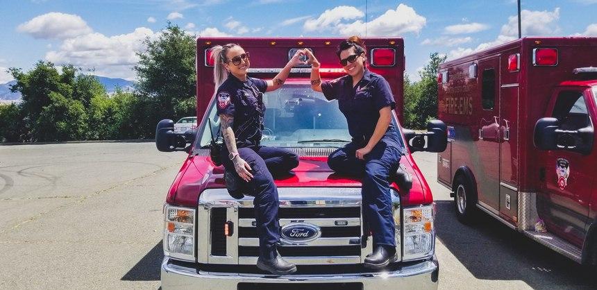EMT Taylor Panus, left, and Paramedic Jolene Green work together on Medic 6.