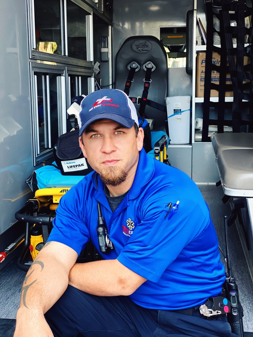 Louisiana Paramedic Lane Abshire works full-time with MedExpress and part-time with Air Evac Lifeteam.