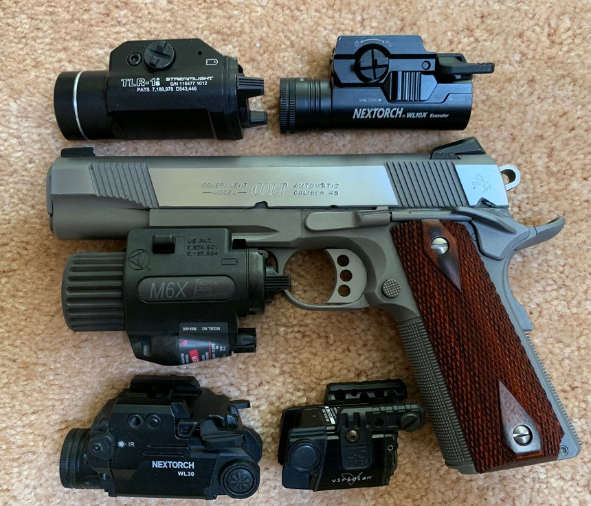 Figure 1: L-R top to bottom: Streamlight TLR-1s light, NEXTORCH WL10X light, Insight M6X combo (mounted), NEXTORCH WL30 combo and Viridian C5 laser.