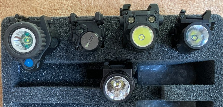 Figure 2 caption: L-R top to bottom: Insight M6X, Viridian C5, NEXTORCH WL30, NEXTORCH WL10X and the Streamlight TLR-1s.