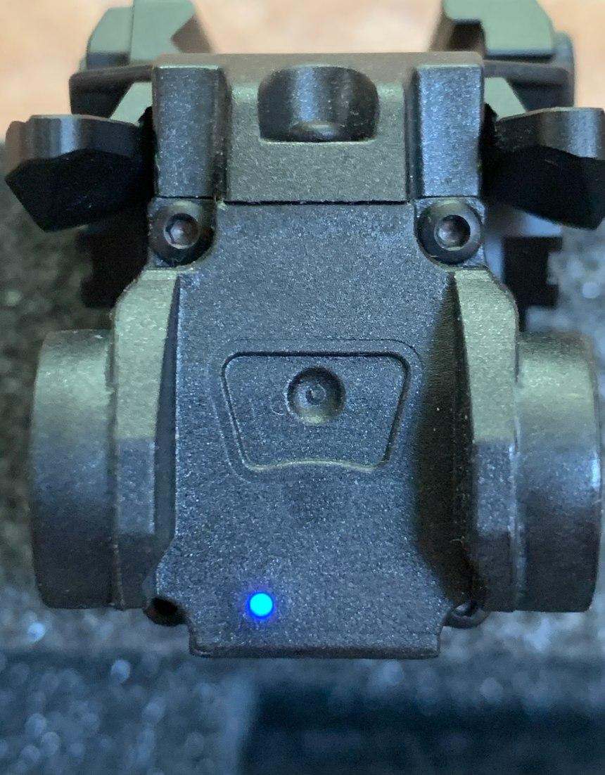 Figure 3: The blue LED on the NEXTORCH WL30 shows that the IR laser is illuminated.