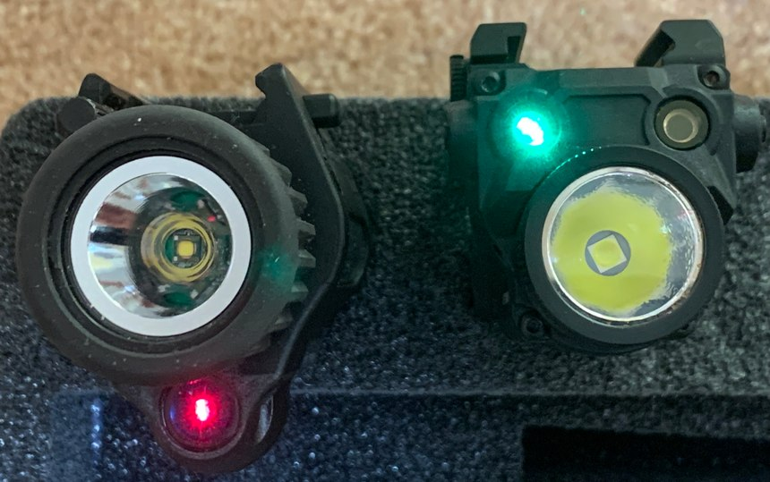 Figure 4: By having the laser on the bottom of the Insight M6X (left), parallax error is increased when shooting at closer targets. On the other hand, the NEXTORCH WL30 puts the lasers closer to the bore, minimizing parallax.