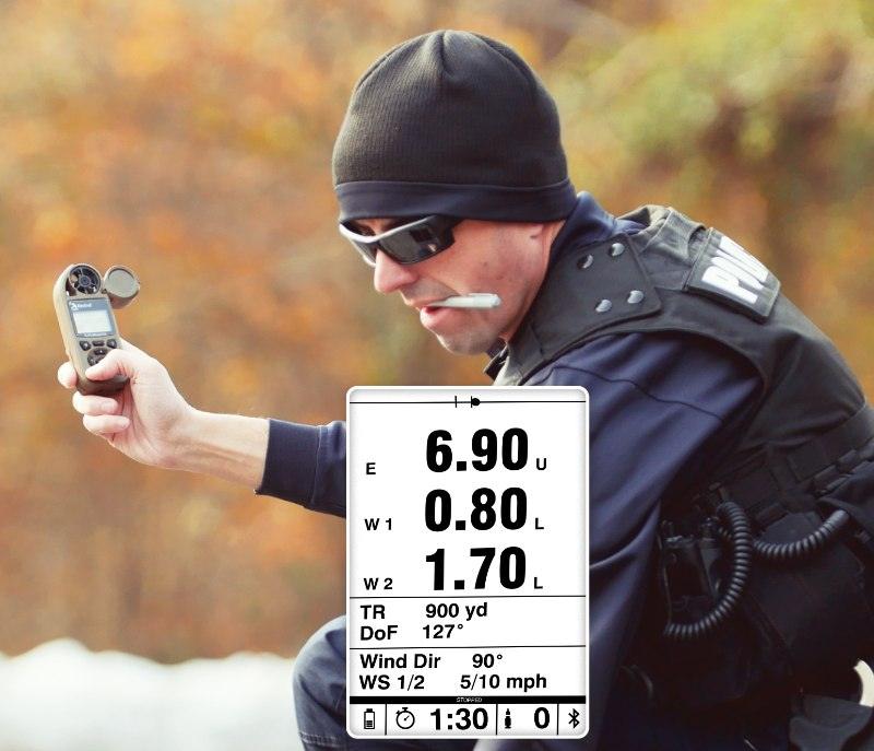 Cops can use the Kestrel Ballistics 5700 series for precise targeting. New for 2020, the optional gun-mounted HUD (heads-up display) shows everything you need for a precise shot.
