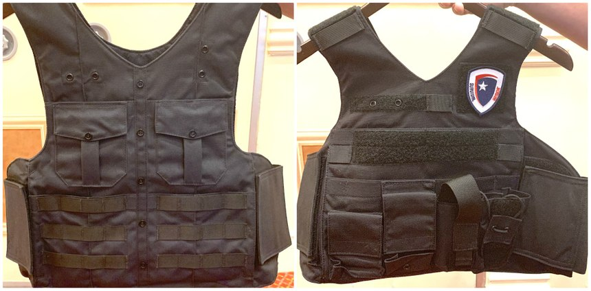 Survival Armor's dress uniform carrier features dual dress pockets with Velcro closures and 2-4 rows of MOLLE. Pictured on the right is the company's custom RAID vest. (Photos/Ron LaPedis)