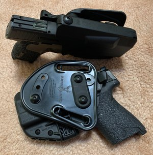 The Safariland Model 7371 thumb release holster. (Photo/Ron LaPedis)