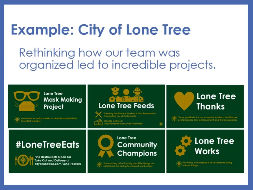 These City of Lone Tree programs are proof of what can happen whenstaff experimentation is nurtured.