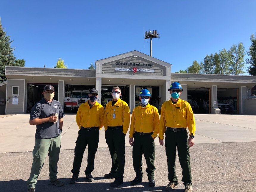 Greater Eagle Fire District Lt. Clayton Forsyth (far left) with four members of the Eagle County Paramedic Services wildland paramedic team: (from left to right) Paramedics Chris Rauzi, Greg Sawyer, Aaron Zinser and Joel Simonson.