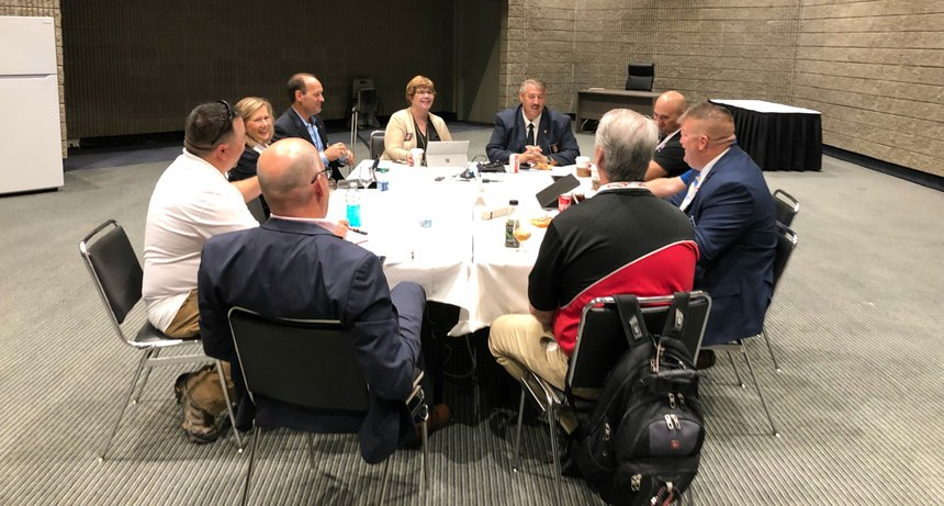 "Comprised of representatives from the IAFC's EMS, Safety, Health & Survival, Metro Chiefs and Volunteer & Combination Officers sections, the new committee for the ""If you don't feel well, don't make it your farewell"" program met at Fire-Rescue International 2019. (Photo/Gary Ludwig)"