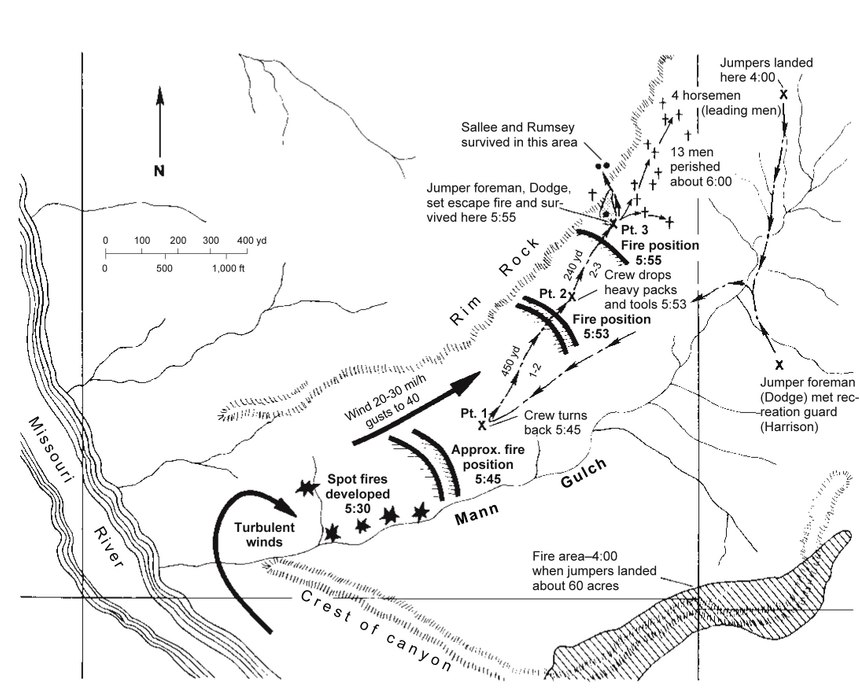 Map of Mann Gulch illustrating the movement of the crew and the position of the fire as it approached the crew at points (pt.) 1, 2, and 3. (Map/USFS)