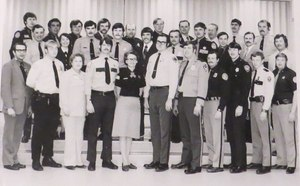 Lt. Dan Marcou is pictured along with his fellow recruits of the 1974 academy class at the Public Safety Training Center of Western College in Wisconsin.